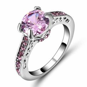 Jewelry - Silver tone Ring with Pink Stones Size 9